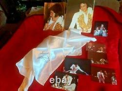 ELVIS PRESLEY CONCERT SCARF AND PICTURES 1977 Beautiful Rare White Scarf