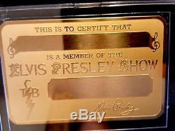 ELVIS PRESLEY SHOW Gold Metal ID Card Badge with Certificate Very RARE