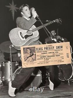 Elvis Presley-1956-Ticket & Newspaper Ad- Charlotte, NC -RARE- CONCERT AD Cool