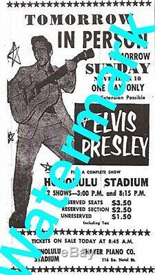 Elvis Presley 1957 (rare) Original Hawaii Concert Ticket At The Honolulu Stadium