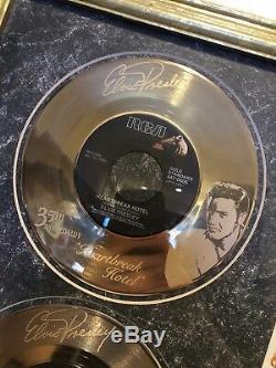 Elvis Presley 24KT Gold Plated Records Heart Break Hotel & Love Me Tender RARE
