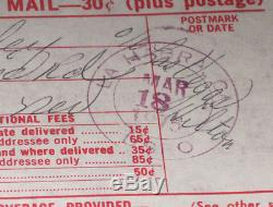 Elvis Presley Certified Mail Reciept Hilton Hotel 1975 RARE NM