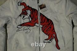 Elvis Presley Embroidered Tiger Quilted White Varsity Jacket New Official Rare
