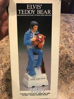 Elvis Presley McCormick Bottle Decanter Teddy Bear Mini w Box Empty Very Rare