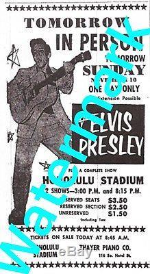 Elvis Presley Original 1957 Hawaii Concert Ticket From Honolulu Stadium Rare