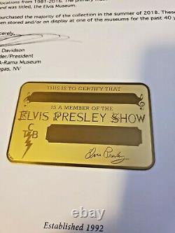 Elvis Presley Original Rare Gold Backstage Pass, Only 24 Were Blank out of 100