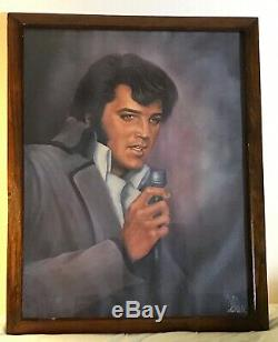 Elvis Presley Rare Framed Portrait Painting By Loxi Sibley Original