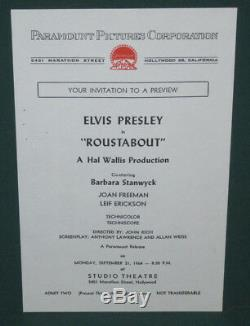 Elvis Presley Roustabout Movie Opening Premiere Invitation Original 1964 RARE