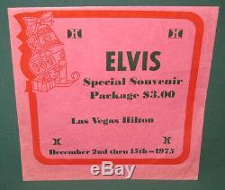 Elvis Presley Souvenir Package Envelope Las Vegas Hilton 1975 RARE PINK