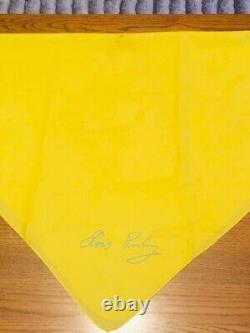 Elvis Presley Stage Used Scarf Rare Yellow With Blue Facsimile Signature