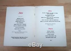Elvis Presley Summer Festival 1971 Lake Tahoe Nevada Sahara Dinner Menu Rare