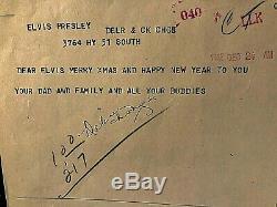 Elvis Presley Very Rare Orig. 1962 Xmas Eve W. Union Telegram From Col. Parker