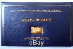 FRANKLIN MINT 1st DAY SILVER GOLD COATED INGOT STAMP ELVIS PRESLEY RARE (BXE)