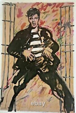 Fabulous Rare And Signed David Oxtoby Offset Lithograph of Elvis Presley