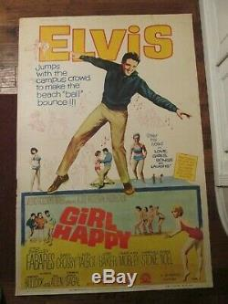 Girl Happy Original 40 x 60 Rare Movie Poster- Elvis Presley