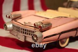 RARE Cadillac Pink Elvis Presley statuette figurine tinplate car handmade