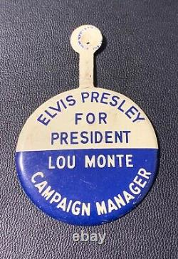 RARE Elvis Presley For President Tab Pin / 1950s / Direct From Memphis