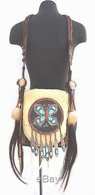 RARE Elvis Presley Native American Leather Turquoise Sterling Silver Purse Bag