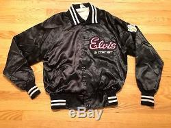 RARE Elvis Presley in Concert TCB Black Satin-Like Button Up Jacket Howe XL