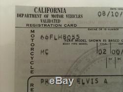 RARE Original 1966 Harley Davidson ELVIS PRESLEY'S SHOVEL HEAD chopper pink slip