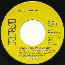 Rare ELVIS PRESLEY Merry Christmas Baby YELLOW LABEL PROMO 45 vg/ nm cond 1971
