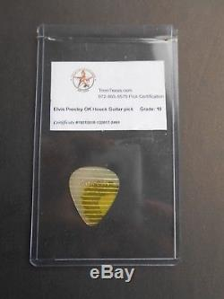 Rare! ELVIS PRESLEY owned OK Houck Piano Co. Guitar pick with unique yellow streak