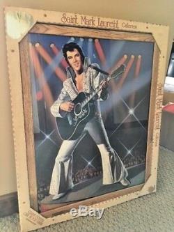 Rare Elvis Presley Saint Mark Laurent Galleries 21x17 Wood Framed Painting