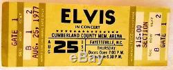 Rare Elvis Presley unused Concert Ticket Fayetteville NC Aug 25 1977 Excellent