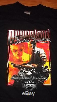 Rare Graceland HARLEY DAVIDSON Elvis Presley Memphis TN Motorcycle Mens Shirt XL