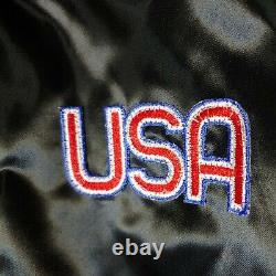 Rare Vintage Elvis Presley Auburn Satin Bomber Jacket Sz XXL Black