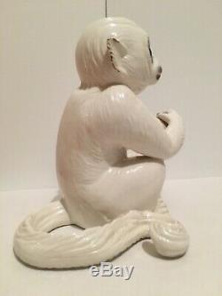 Rare Vintage White Porcelain Monkey Statue Elvis Presley Graceland Art Piece