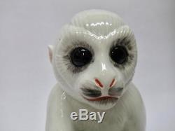 Rare white Italian porcelain ceramic Capuchin monkeys holding ball ELVIS PRESLEY