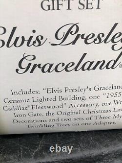 Retired Dept 56 SNOW VILLAGE Elvis Presley's Graceland Gift Set Cadillac RARE