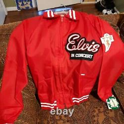 VINTAGE 1970s ELVIS PRESLEY ULTRA RARE TCB HOLLOWAY RED TOUR JACKET small new