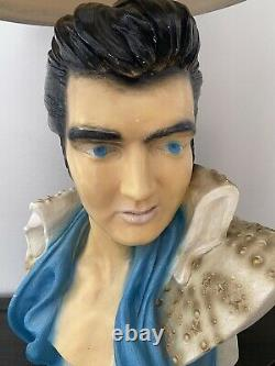 VINTAGE CHALKWARE ELVIS PRESLEY BUST STATUE Table Lamp with Shade- WORKING! Rare