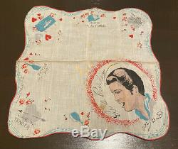 VINTAGE RARE Elvis Presley Handkerchief 1956 ENTERPRISES Concert Souvenir RED