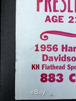 Vintage 1956 Elvis Presley Harley-Davidson Prophetic Poster Ad Extremely Rare