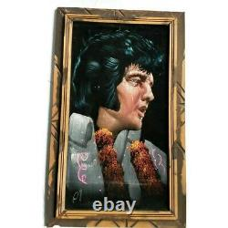 Vintage Elvis Presley Black Velvet Painting Tears Crying Mexico Rare THE KING