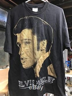 Vintage Elvis Presley Mosquitohead Black T Shirt Sz XL Rare 90s Big Logo Rock
