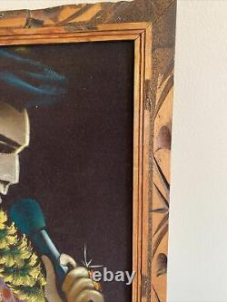 Vintage Rare 28.5 By 38 Elvis Presley Art Painting on Velvet signed