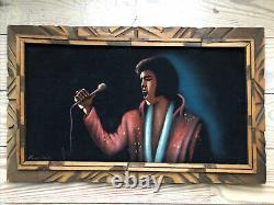 Vintage Signed Black Velvet Elvis Presley Painting Mexico Very Rare! THE KING